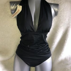Other - New sexy black low-cut one piece swimsuit size 6